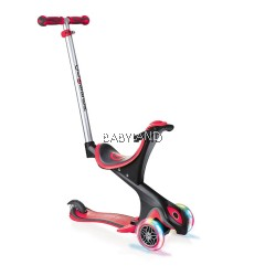 Globber 3 Wheel 5-in-1 Convertible Scooter with LED Light Up Wheels - Red