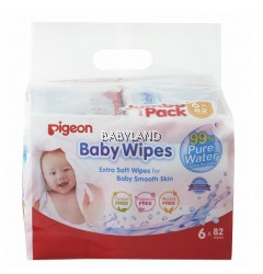 Pigeon Baby Wipes 99% Pure Water (6 x 82pcs)