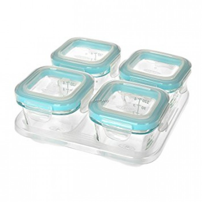 Oxo Tot Glass Baby Blocks Aqua 4oz 120ml