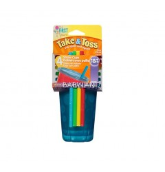 The First Years Take & Toss Straw Cups Blue 4pcs 10oz (18m+)