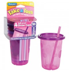 The First Years Take & Toss Straw Cups Fuchsia 4pcs 10oz (18m+)