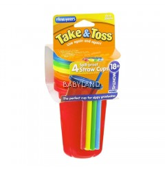 The First Years Take & Toss Straw Cups Orange 4pcs 10oz (18m+)