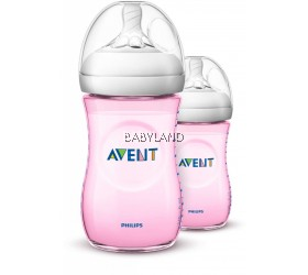 Philips Avent Natural Feeding Bottle Twin Pack Pink (9oz/260ml)