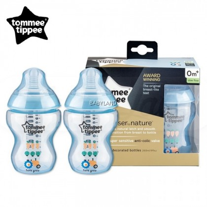 Tommee Tippee Closer To Nature Decorated Bottle Blue (2x260ml)
