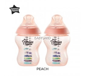 Tommee Tippee Closer To Nature Decorated Bottle Peach (2x260ml)