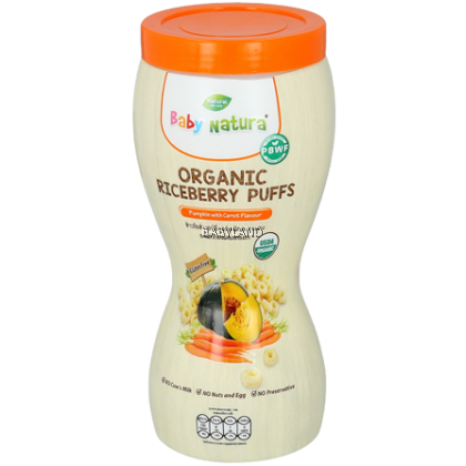 Baby Natura Organic Riceberry Puffs - Pumpkin with Carrot Flavour (40g)