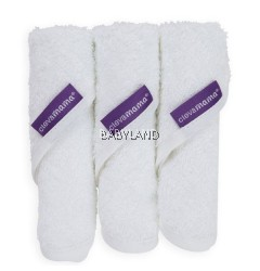 Clevamama Bamboo Baby Washcloth 3pcs (White)