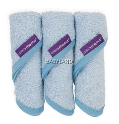 Clevamama Bamboo Baby Washcloth 3pcs (Blue)