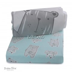 Bubba Blue Beary Happy Cot Fitted Sheet 2pcs (77x135x19)