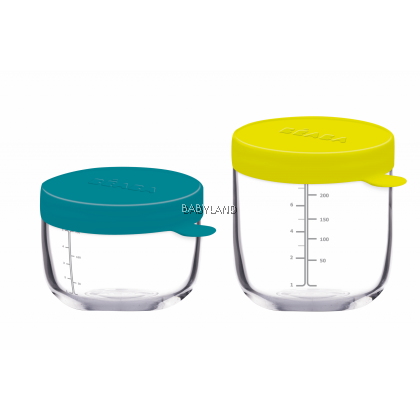 Béaba Glass Containers – Set of 2 (5 oz and 8 oz) Peacock/Neon